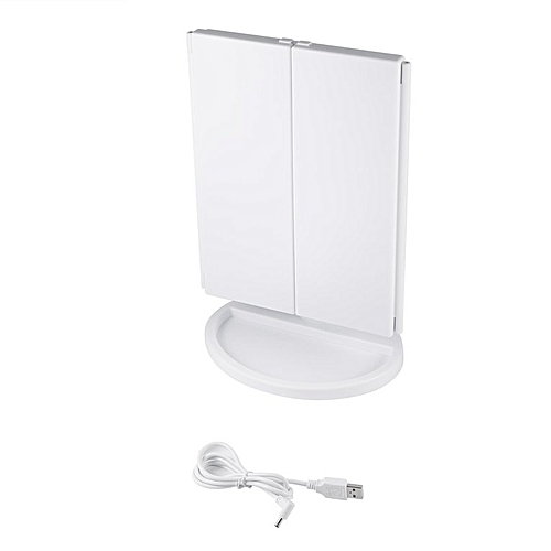 3-folding Makeup LED Light Mirror 1X/2X/3X Desktop Magnifying Mirror MR-L3013 White