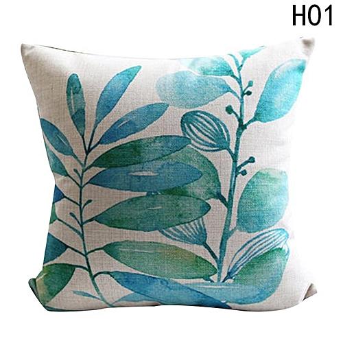 Eleganya New Creative Simple Leaves Printing Fashion Chic Linen Pillow Case H01