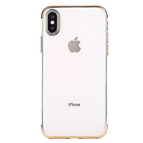 san francisco 5ee5f 46865 Iphone X Gold Plated Transparent Clear Back Case For IPhone X (with FREE 4D  Full Screen Protector)
