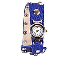 Leather Bracelet Watch With Steel Detail Blue