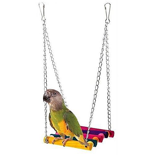 Bird Parrot Parakeet Cage Swing Hanging Toy