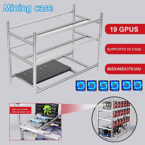 19 GPU Mining Aluminum Open Air Frame Miner Rig Case Stackable ETH