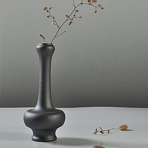 Ceramic Flower Vase Porcelain Black Home Office Modern Decor Art Crafts Vase
