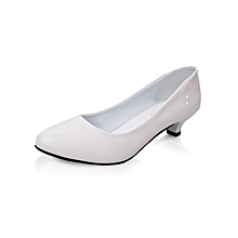 62b7adb0a63 3cm Low Heel Pumps Women Round Toe Casual Shoes -White
