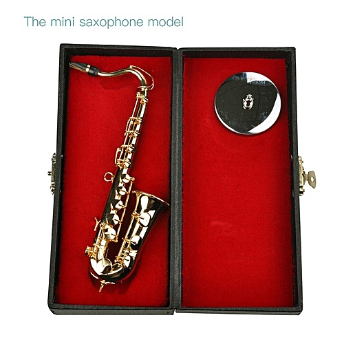 Mini Saxophone Musical Instruments Goldplated Miniature Saxophone Home Decor Gold Color