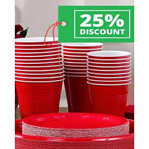 12 Pieces - Big Red Disposable Party Cups