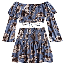 26b0d02bb Lace Up Floral Top With Tiered Beach Skirt - BLUE