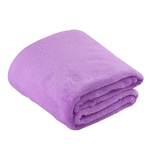 Solid Color Flannel Coral Blanket Plain Color Velvet Blanket Knee Blanket Light Purple