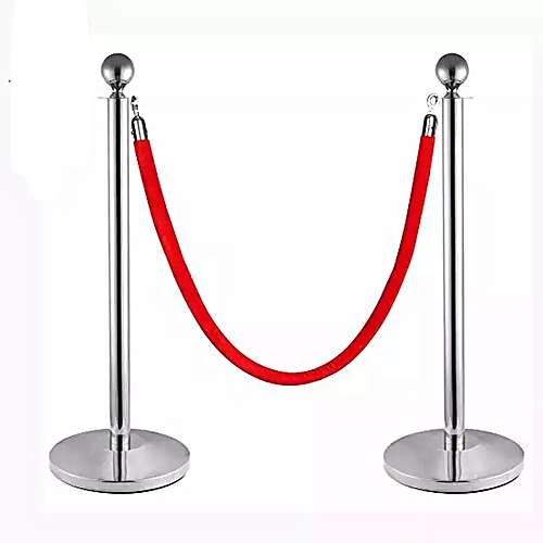 Queue Control Barrier Poles And Ropes - Set Of 2 Poles & 1 Rope