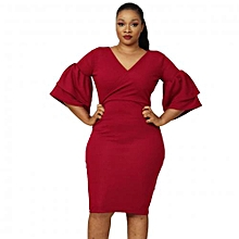 73f0c9b0f2 Jasmine Bell Sleeve Dress - WIne
