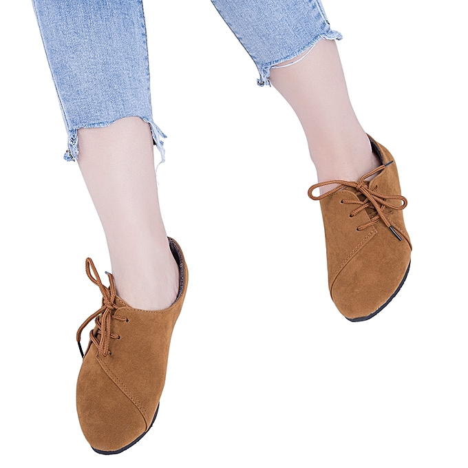 Lace Up Round Toe Suede Women Casual Flat Shoes discount codes shopping online sale popular outlet tumblr JH82V
