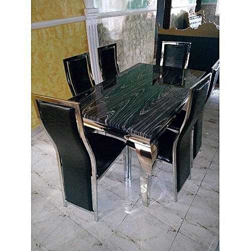 Marble Dinning Set (Table + 6 Dinning Chairs) Black