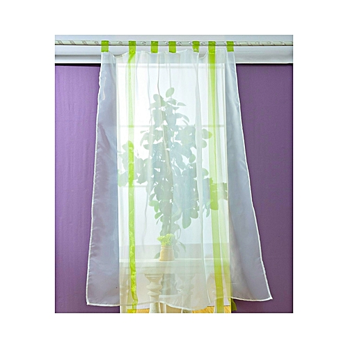 Generic 140 X 140CM European Wave Blinds Stitching Colors Voile Panel Window Curtain - Green