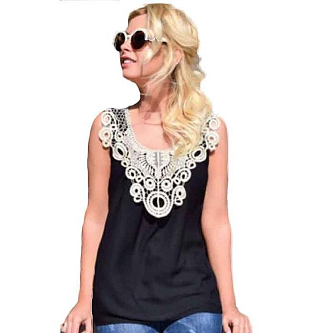 f62dcbef4b82c Xingbiaocao Women Tank Top Summer Sexy Lace Halter Top Fashion Sleeveless  Camisole - Black
