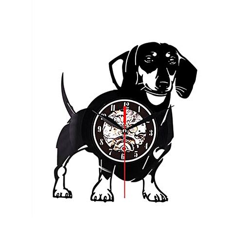 Vinyl Wall Clock Vinyl Record Creative Wall Clock - A Puppy Black