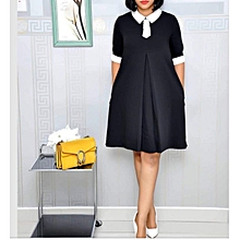 d52ace6299ee3 Black With White Collar Shift Dress - Black