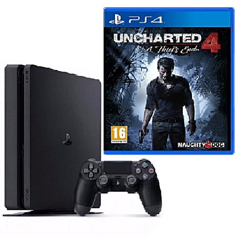 Sony PlayStation 4 Slim 500GB Console + Uncharted 4 + A Thief's End Bundle