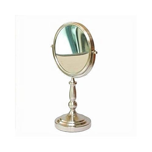 Round Bathroom Pedestal Mirror - Nickel