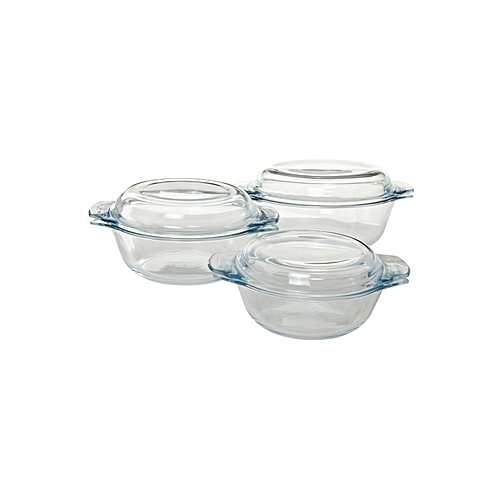Pyrex Essentials Set Of 3 Glass Casserole Dishes