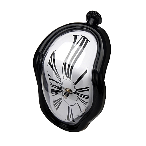Creative Block Twisting Clock Digital Retro Distortion Irregular Clock-Black