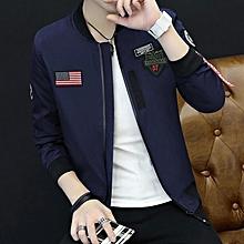 6877805ec9889 DARK BLUE Spring And Autumn New Men  039 s Baseball Collar Flying Suit  Jacket
