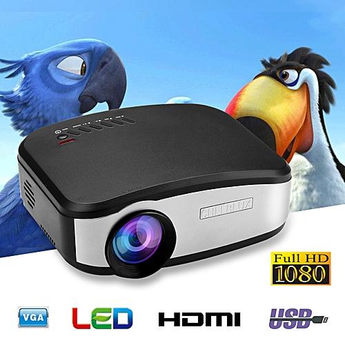 CHEERLUX Mini LED Projector 800x480 1200 Lumens Home Theater HDMI/USB/VGA/AV/DTV - Black