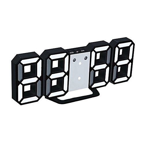 3D LED Digital Wall Clocks 24/12 Hours Display 3 Brightness Levels Dimmable Nightlight Snooze Function For Home Kitchen Office SLS