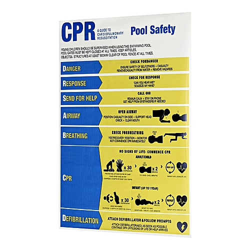 CPR CHART DRSABCD SAFETY RESUSCITATION SIGN COMPLIANT PVC FOR SWIMMING POOL/SPA