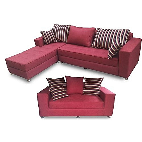 Generic Red Striped L-Shape 5 Seater With Double Seater Fabric Sofa ...