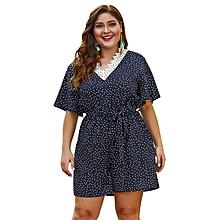 57ddc9e0cf2 Dot Print Boho Plus Size Backless Chiffon Playsuit-Blue