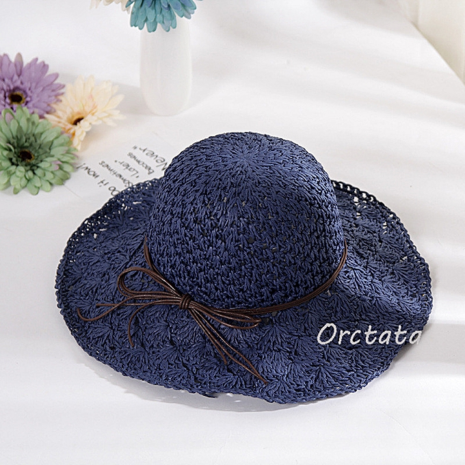 591e21f8f32d1a Chic Straw Sun Hat For Women Fashion Handmade Foldable Roll Up Hat Fedora  Beach Wide Brim