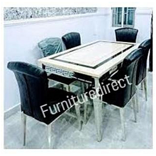 Marble Dining Set Furniture + 6 Dinning Chairs