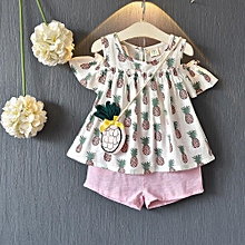 21fabfe7b5e Toddler Baby Kid Girl Outfits Clothes Printing T-shirt Tops+Shorts Pants+Bag