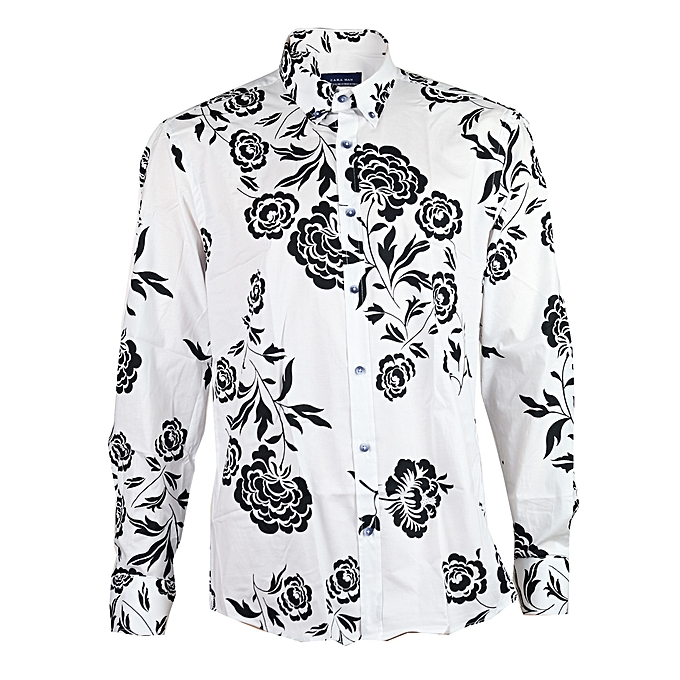 1338e5c42 zara man Floral Patterned Shirt With Long Sleeves - White & Black ...