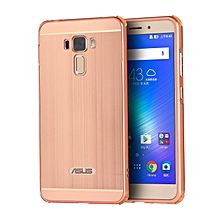 Luxury Metal Aluminum Bumper For Asus Zenfone 3 Laser ZC551KL 5.5 Case Detachable + Brushed PC Hard Back 2 In 1 Cover Ultra Thin Frame Rose Gold 294178 (As Main Picture)