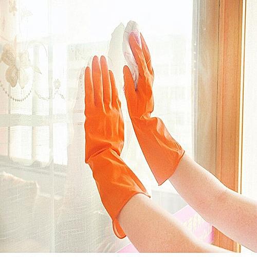 Waterproof Rubber Latex Gloves For Dish Washing Laundry Housework Orange