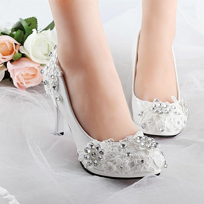d196284b448 NEW Women White Floral Stilettos Rhinestone Wedding Shoes Bridal High Heels  Gift White