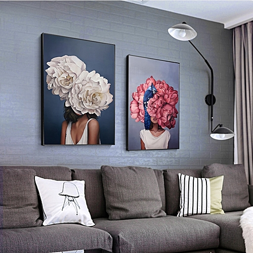 Nordic Style Beauty Flower Girl Canvas Painting Postmodern Poster And Print For Living Room Girls Fashion Home Decor Wall Art