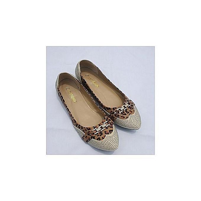 4c0b4892553e Fashion Beautiful Women Flat Shoes Leopard Skin With Bow Chain ...