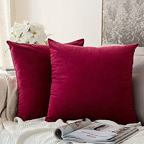 Fibre Stuffed Throw Pillow (2 Pieces) - Wine