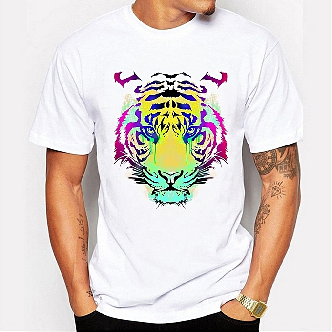 fa71675a 2017 New Fashion Colored Tiger Design Men's High Quality T Shirt Cool Tops  Hipster Style Casual