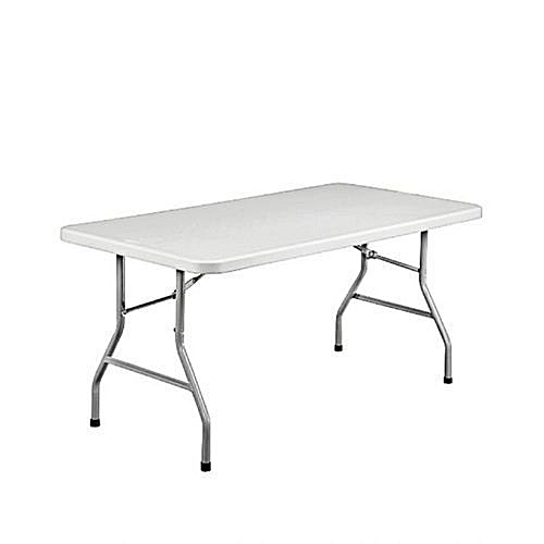 8-seater Rectangular Plastic Folding Table With Foldable Metal Legs - 5 Ft Long