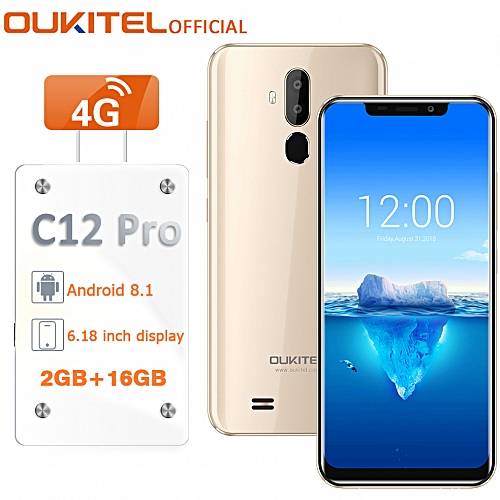 C12 Pro 6.18-Inch (2GB RAM 16GB ROM) Bluetooth Android 8.1,(8MP + 2MP) + 5MP 4G Smartphone EU With Case - Gold