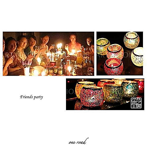Mosaic Glass Candle Holder Tea Lights Candleholder Table Decoration Candles Cup Wedding Home Decor