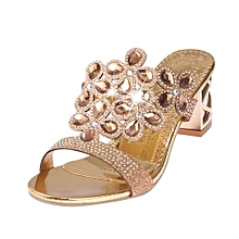 8acb9639e Women's Shoes Rhinestone Summer Square Slippers Sandals-Gold