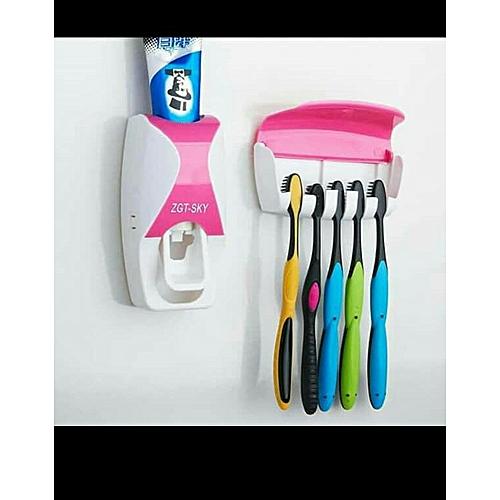 Toothpaste Dispenser Plus Brush Holder
