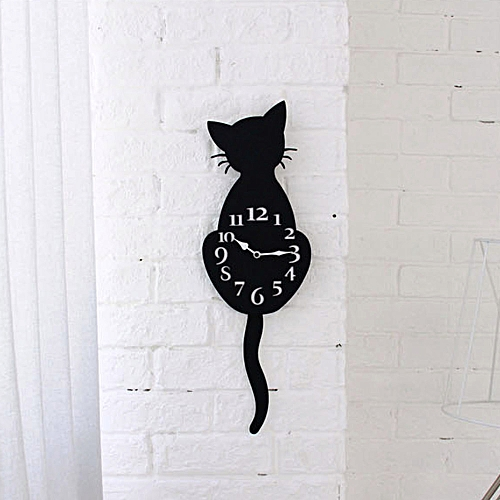 Dtrestocy Creative Cartoon Cute Cat Wall Clock Home Decor Watch Way Tail Move Silence