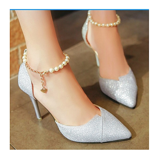 Silver Wedding Shoes.Top Quality High Heel Wedding Shoes Evening Slver Bridal Shoes Silver