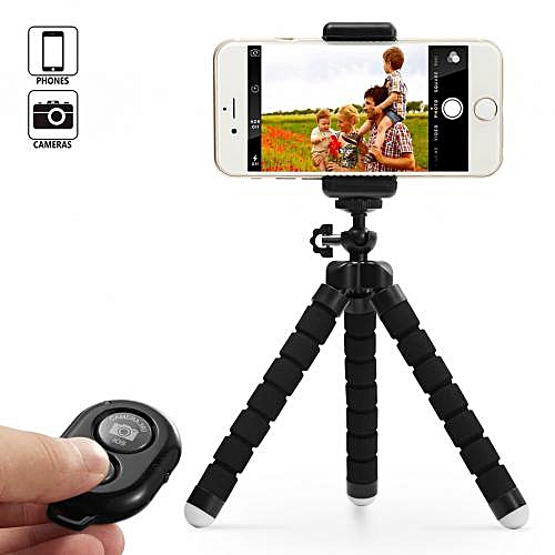Tripod Stand Holder & Remote For Smartphones & Camera -Black