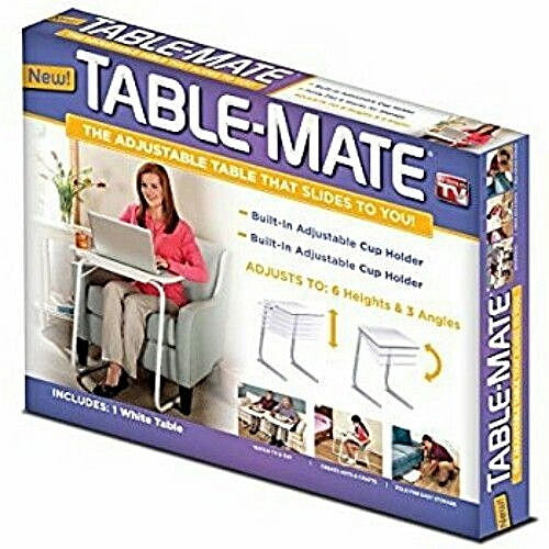 Table Mate Adjustable IV With Cup Holder-Silver